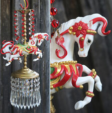 Porcelain Horse Carousel Lamp SWAG Chandelier Vintage Crystal RED poinsettia
