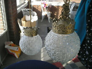 Two Vintage Hanging Pendant Light Lamp Fixture Clear Cut Glass Geometric Shades