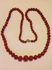 Antique natural Coral beads Chinese ox blod color necklace 57.6 gram (m1243)