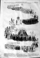 Original Old Antique Print 1844 Funeral Procession King Holland 19th