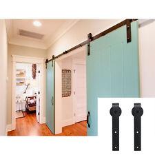 8FT Sliding Barn Double Door Hardware Track Kit Closet j style Interior Exterior