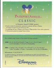 pass Disneyland PARIS calendrier PASSEPORT ANNUEL CLASSIC 2000-2001 TTB