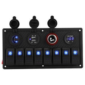 8Gang LED Schaltpanel Schalttafel Wippschalter USB Ladegerät Voltmeter Boot HS A