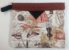"""Quilted Handmade Snap Bags Sewing Themed Fabric Red Black Cream 10""""X9'"""