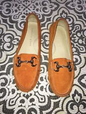 Patricia Green Loafers Orange Suede $198 Sz 38 Guc