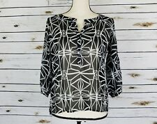 Cotton On Top Size Small Womens Black White Sheer Geometric 3/4 Sleeves Tunic