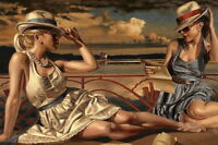 Art Giclee Print Fashion Summer Girl Oil painting HD Printed on canvas P156