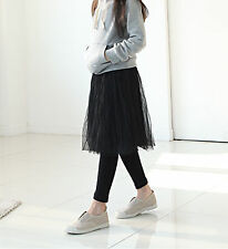 New Women Lady Korea Black Tutu Lace veil Long skirt with insert leggings