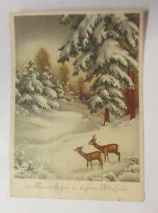 Weihnachten, Winterlandschaft, Wald, Rehe,  1950 ♥ (26715)