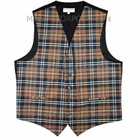 New Men's Plaid Tuxedo Vest Waistcoat only Plaid checkers Brown Wedding formal