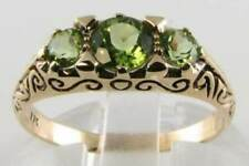 CLASS 9K 9CT GOLD PERIDOT TRILOGY 3 stone VICTORIAN VINTAGE INS RING FREE RESIZE