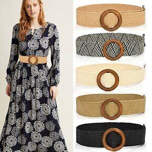 Womens Girl Wide Elastic Stretch Waist Belts Wooden Buckle For Coat Dress Decor