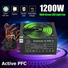 1200W Computer aming Power Supply PC PSU 24Pin SATA 6Pin 4Pin Quiet LED Fan