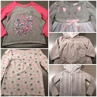 Lot of 5 Toddler Girl Clothing Fall/Winter Top Sweater Dress Carters Cherokee 2T