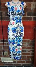 Ladies 14 long tall blue Floral Dress 50s Sleeveless Pencil Wiggle wedding races