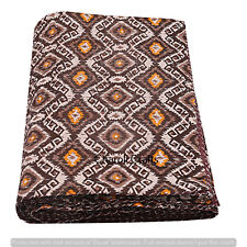 Hippie Brown Ikat Print Kantha Blanket Indian Handmade Quilts Queen Bedding Art