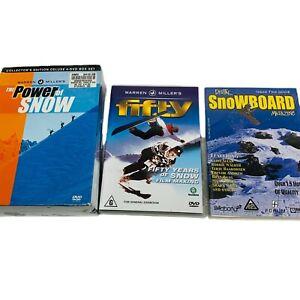 SNOWBOARD DVD LOT Warren Miller's The Power of Snow Box Set & Fifty / Magazine