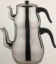 Traditional Turkish Tea Pot Stainless Steel Caydanlik ClassIc Mini UK free post