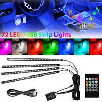 4Pcs 72 LED USB Car Interior Atmosphere Light Strip Wireless IR Remote Control