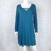 Venus Size Large Tunic Dress Strappy Front Long Sleeve Teal Blue Stretch