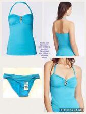 Boyshorts Strappy, Spaghetti Strap Colour Block Swimwear for Women
