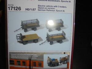 Preiser 17126 Échelle H0 Figurines,Chariot Électrique Avec 3 Remorques,DB # Neu