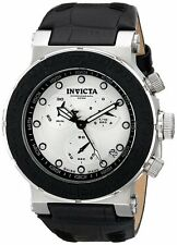 Invicta Men's 10744 Ocean Reef Chronograph Silver Dial Black Leather Watch