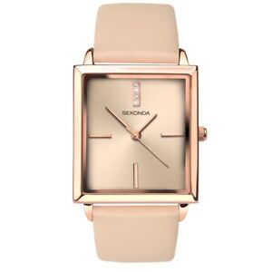 Sekonda 32mm x 30mm Rose Gold Plated Nude Leather Band Watch SK2555