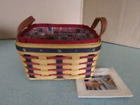 Longaberger Proudly American Medium Berry basket, liner, & protector  NEW