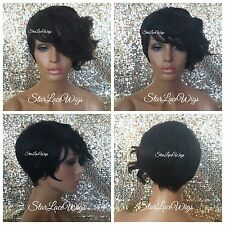 Synthetic Full Wigs For Women Bangs Asymmetrical Short Loose Waves Dark Burgundy
