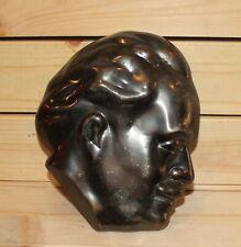 Vintage hand made bronze wall hanging plaque man portrait Georgi Dimitrov