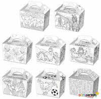 10 Colour In Boxes - Choose From 8 Designs - Lunch Meal Gift Bag Childrens