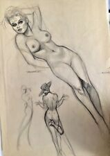 FOREVER Nude ORIGINAL DEMARTINI PIN-UP DRAWING Pinup VINTAGE ROMANCE Vargas 60's