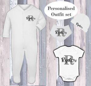 Personalised Babygrow Sleepsuit Bib Gift Bodysuit Hat Newborn 0-3 Outfit Set
