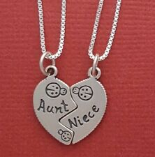 Sterling Silver Aunt Niece Necklaces all solid 925 auntie aunty share break new