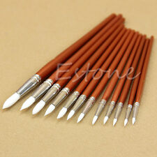 12pc Fine Red Pearl Wooden Paint Acrylic Oil Watercolor Painting Artists Brushes