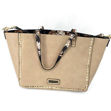 Steve Madden Womens Tan Floral Structured Faux Leather Shopper Tote Handbag