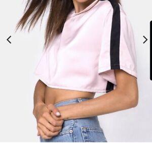 Motel Rocks Womens Crop Top Size M 10 12 Crop Short Sleeve Pink Black Stripe