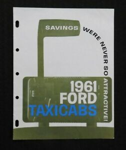 "1961 ""FORD TAXICAB"" FAIRLANE SIX & GALAXIE MAINLINER SALES BROCHURE CATALOG MINT"