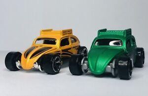 Hot Wheels Custom Volkswagen Beetle 'Loose' Yellow And Green Lot Of 2