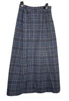 Vintage Pendleton Womens Long A-Line Wool Plaid Skirt Size 12 Pocket Blue Gray