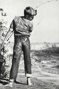 1960s Humor Young Boy Caught By Fishing Hook Vintage Photo Gravure By Louis Ell