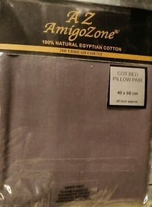 100% Egyptian Cotton Cot Pillow Pair Case Only 60 x 40 cm