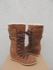 UGG MASON CORSET LACE WP SUEDE/ SHEEPSKIN LINED WEDGE BOOTS, US 10/ EUR 41 ~NEW