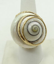 14K Yellow Gold Large Baroque Pearl Snail Shell Ring Sz7.75 A2457