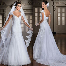 Mermaid Lace Wedding Dress White Ivory Bridal Gown Size 6 8 10 12 14 16 18 UK