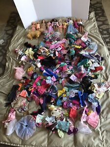 large lot barbies clothes and accessories