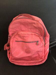 Kipling Seoul Backpack Laptop Travel Vibrant Pink Coral Nylon w/Monkey ~ BAGCH2