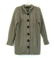 Eddie Bauer Women's Large Button Up Cable Knit Alpaca/Wool Blend Winter Sweater