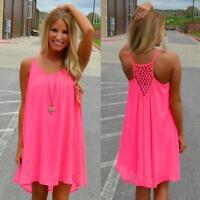 Women Spaghetti Strap Back Howllow Out Chiffon Beach Mini Dress Plus Size S-3XL